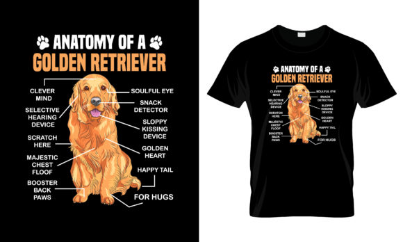 Print on Demand: Antomy of a Golden Retriever T Shirt Graphic Print Templates By merchbundle