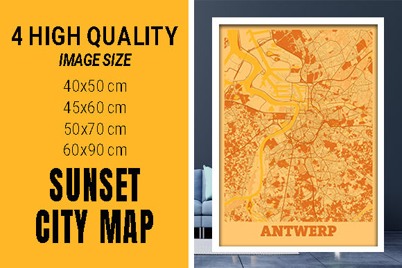 Antwerp - Belgium Sunset City Map Grafik Fotos von pacitymap