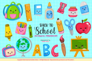 Print on Demand: Back to School Cliparts Set Graphic Illustrations By mascute.arte