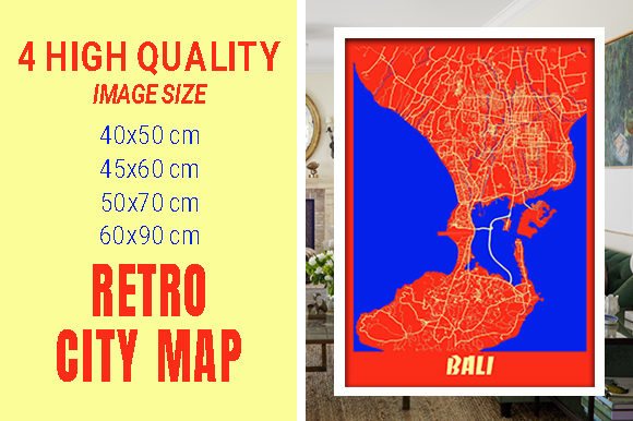 Bali - Indonesia Retro City Map Gráfico Fotografías Por pacitymap