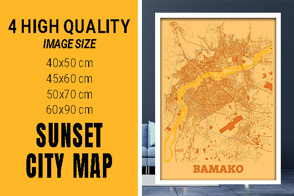 Bamako - Mali Sunset City Map Grafik Fotos von pacitymap