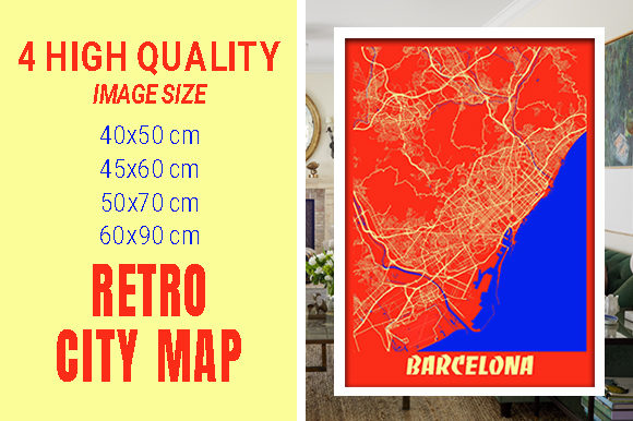 Barcelona - Spain Retro City Map Gráfico Fotografías Por pacitymap