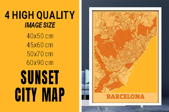 Barcelona - Spain Sunset City Map Grafik Fotos von pacitymap
