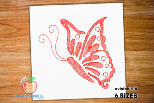 Beautiful Abstract Butterfly Sketch Bugs & Insects Embroidery Design By embroiderydesigns101