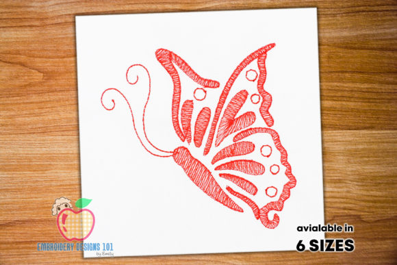 Beautiful Abstract Butterfly Sketch Bichos e insectos Diseños de bordado Por embroiderydesigns101