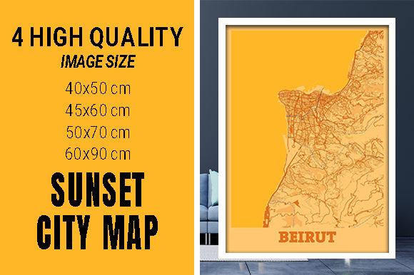 Beirut - Lebanon Sunset City Map Grafik Fotos von pacitymap