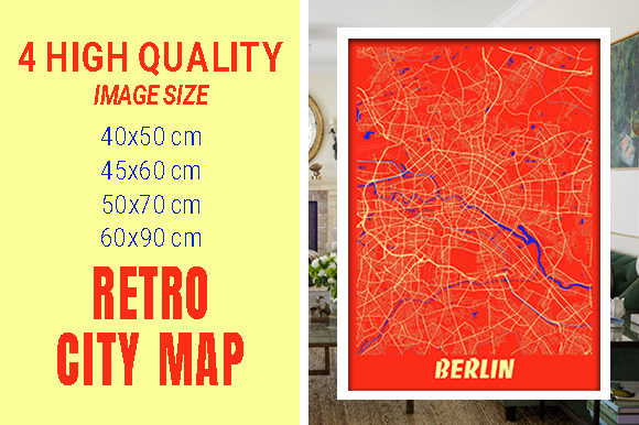 Berlin - Germary Retro City Map Gráfico Fotografías Por pacitymap