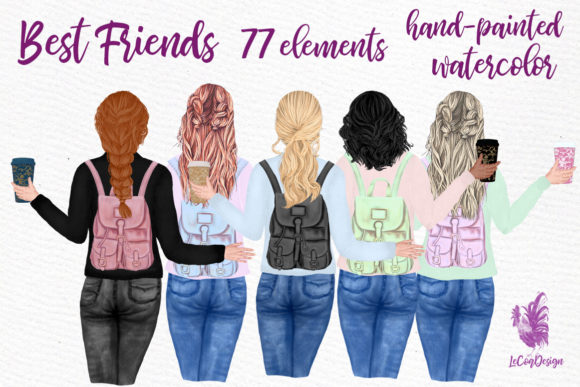 Best Friends Clipart Girl Illustrations Graphic Illustrations By LeCoqDesign