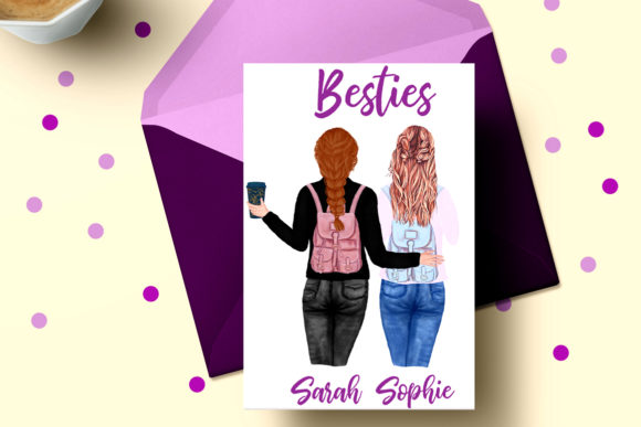 Best Friends Clipart Girl Illustrations Graphic Preview
