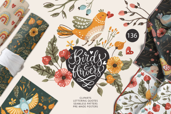 Birds and Flowers - Spring Floral Bundle Graphic