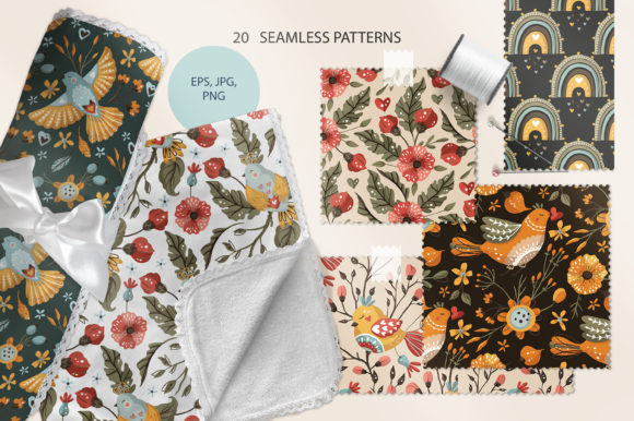 Birds and Flowers - Spring Floral Bundle Graphic Preview