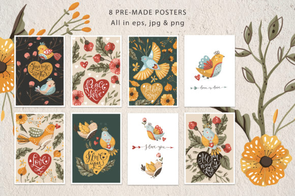 Birds and Flowers - Spring Floral Bundle Graphic Downloadable Digital File