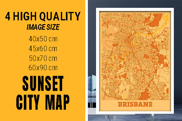 Brisbane - Australia Sunset City Map Grafik Fotos von pacitymap