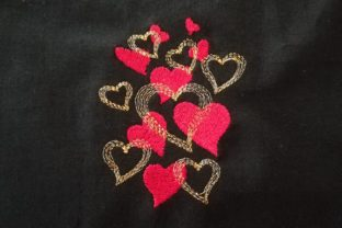 Bunch of Hearts Valentine's Day Embroidery Design By Carol Undy