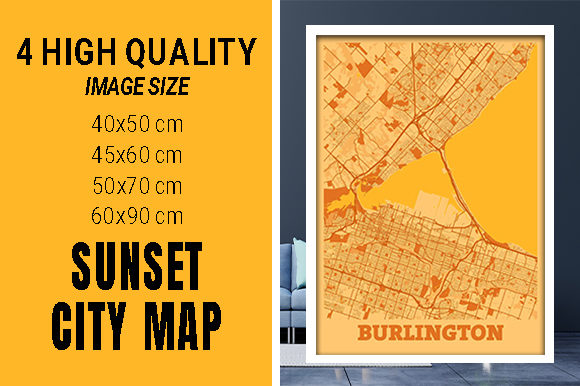 Burlington - Canada Sunset City Map Grafik Fotos von pacitymap
