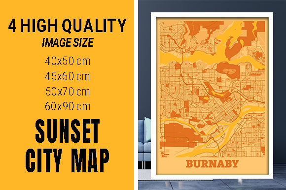Burnaby - Canada Sunset City Map Grafik Fotos von pacitymap