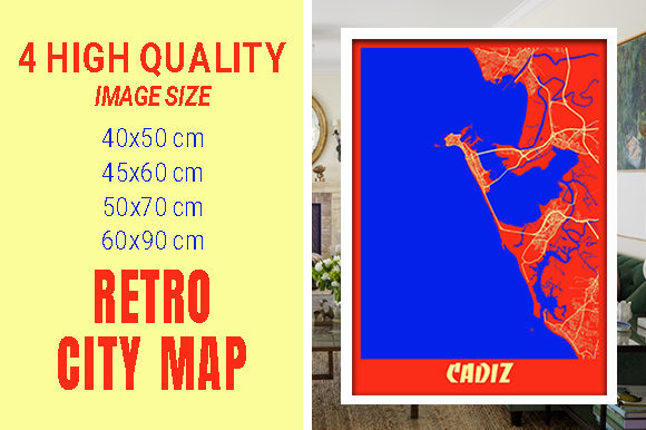 Cadiz - Spain Retro City Map Graphic Photos By pacitymap