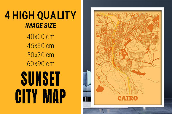 Cairo - Egypt Sunset City Map Grafik Fotos von pacitymap