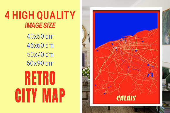 Calais - France Retro City Map Gráfico Fotografías Por pacitymap