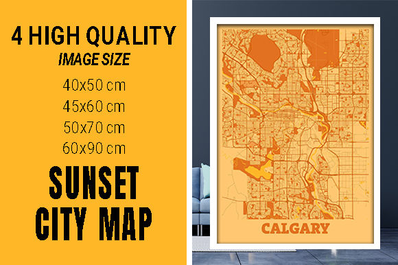 Calgary - Canada Sunset City Map Grafik Fotos von pacitymap
