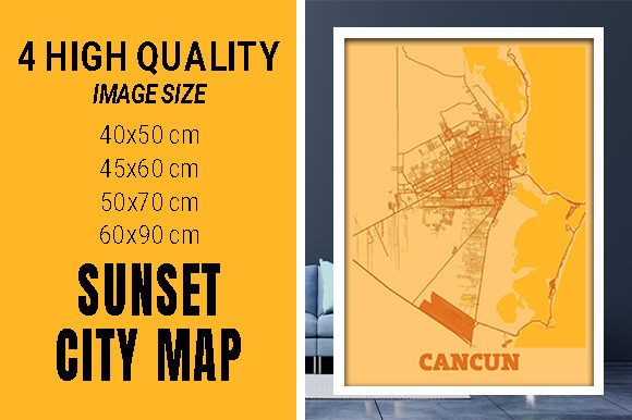 Cancun - Mexico Sunset City Map Grafik Fotos von pacitymap