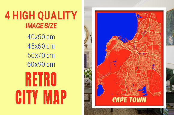 Cape Town - South Africa Retro City Map Gráfico Fotografías Por pacitymap