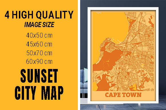 Cape Town - South Africa Sunset City Map Grafik Fotos von pacitymap
