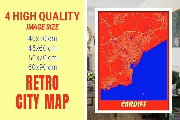 Cardiff - United Kingdom Retro City Map Gráfico Fotografías Por pacitymap