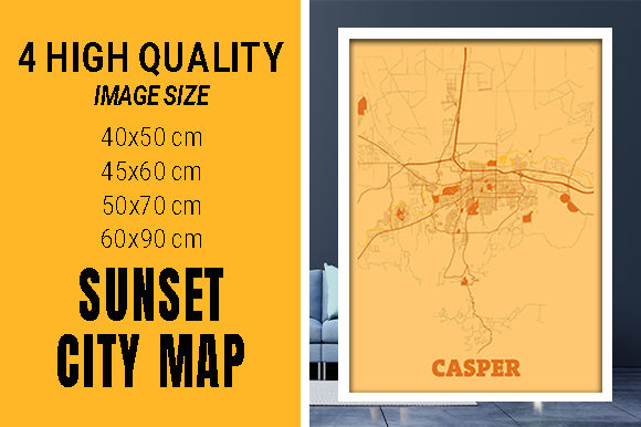 Casper - United States Sunset City Map Grafik Fotos von pacitymap
