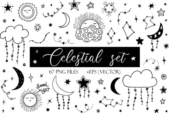 Print on Demand: Celestial Set Doodle Stars Graphic Illustrations By TanyaPrintDesign