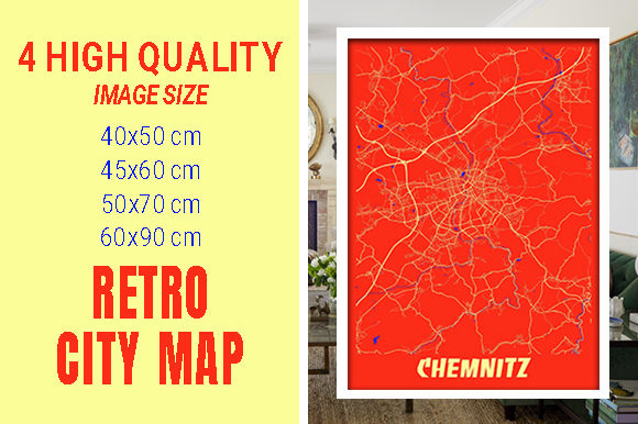 Chemnitz - Germany Retro City Map Gráfico Fotografías Por pacitymap