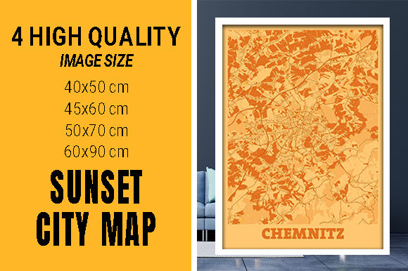 Chemnitz - Germany Sunset City Map Grafik Fotos von pacitymap