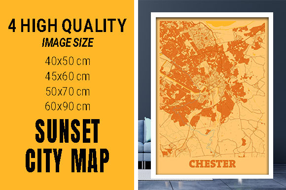 Chester - United Kingdom Sunset City Map Grafik Fotos von pacitymap
