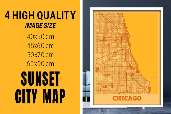 Chicago - Illinois Sunset City Map Grafik Fotos von pacitymap