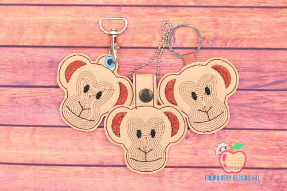 Chimpanzee Head ITH Snaptab Keyfob Wild Animals Embroidery Design By embroiderydesigns101