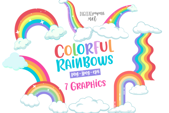 Print on Demand: Colorful Rainbows Graphic Illustrations By DigitalPapers