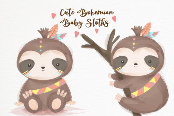 Cute Bohemian Baby Sloth Clipart Set Graphic Illustrations By DrawStudio1988