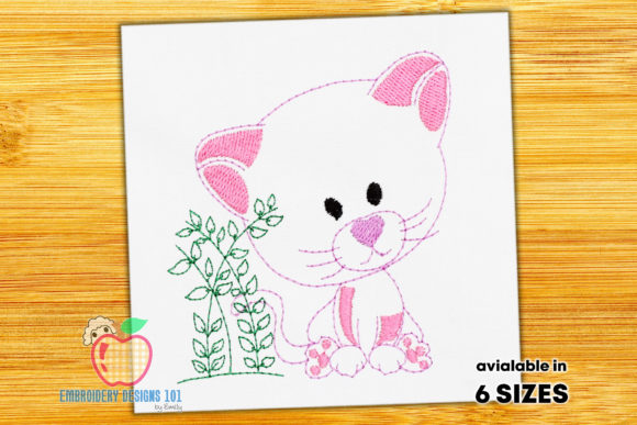 Cute Cartoon Cat with Branch Katzen Stickdesign von embroiderydesigns101