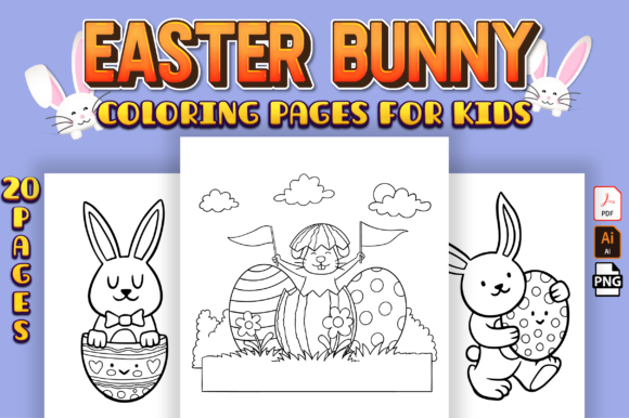 Cute Easter Bunny Coloring Pages Vol-1 Graphic Coloring Pages & Books Kids By Kristy Coloring