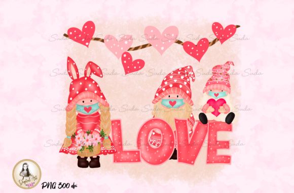 Print on Demand: Cute Gnomes Love Valentines Day Graphic Illustrations By Suda Digital Art