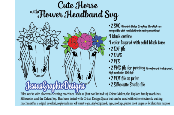 Print on Demand: Cute Horse with Flower Headbands SVG Graphic Crafts By JessasGraphicDesgins