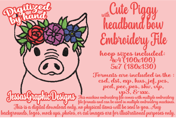 Print on Demand: Cute Piggy Farm Animals Embroidery Design By JessasGraphicDesgins