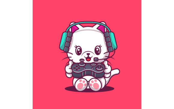 Cute Cat Gaming Illustration Gráfico Ilustraciones Por maniacvector