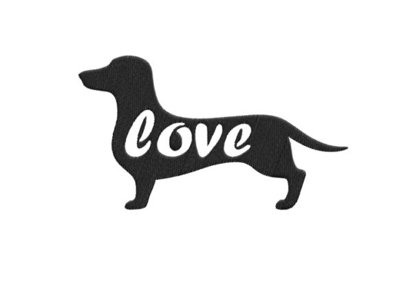 Dachshund Silhouette Dogs Embroidery Design By SweetDesign