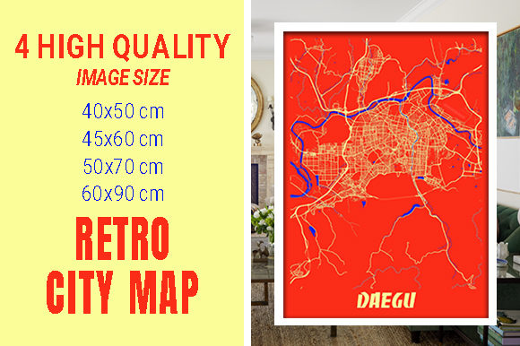 Daegu - South Korean Retro City Map Gráfico Fotografías Por pacitymap