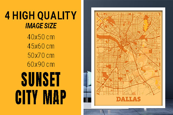 Dallas - United States Sunset City Map Grafik Fotos von pacitymap