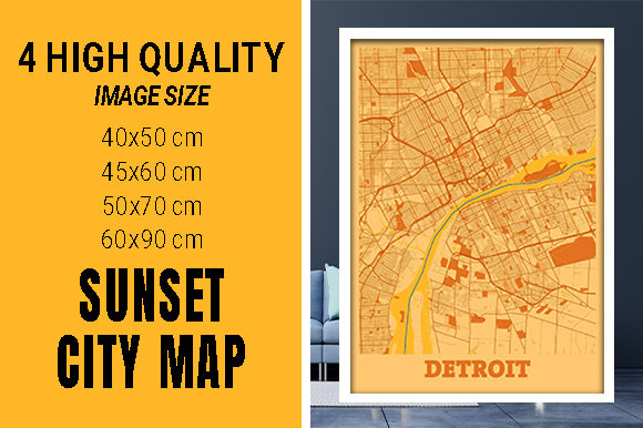Detroit - Michigan Sunset City Map Grafik Fotos von pacitymap