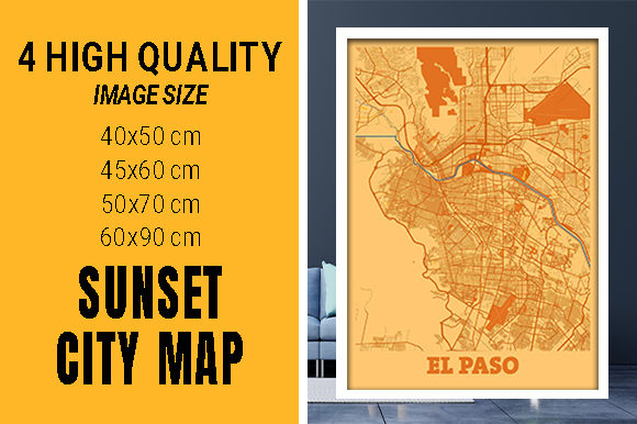 EL Paso - United States Sunset City Map Grafik Fotos von pacitymap