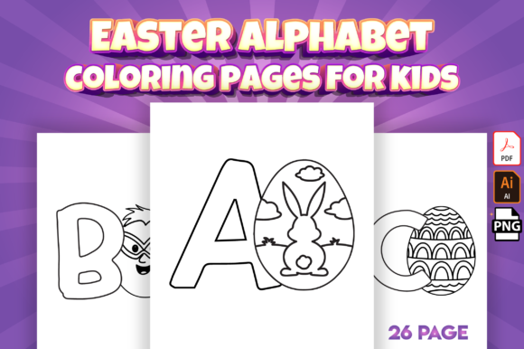 Easter Alphabet Coloring Pages for Kids Graphic