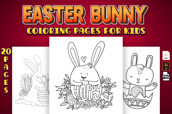 Easter Bunny Coloring Pages for Kids Graphic Coloring Pages & Books Kids By Kristy Coloring